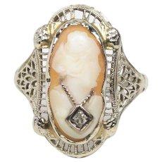 Antique Edwardian Ladies Cameo 14K White Gold Ring