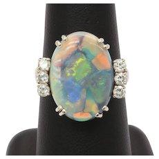 Ladies Vintage Natural Opal Diamonds 14K White Gold Ring