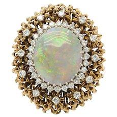 Huge Vintage Ladies Opal Diamonds 14K Yellow Gold Statement Ring