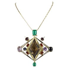 Vintage Multi Stone 14K Yellow Gold Pendant and Chain