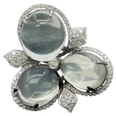 Beautiful 18K White Gold Moonstones Diamonds Ring