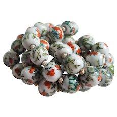 Vintage hand painted ceramic porcelain china beads lovely colors orange blue
