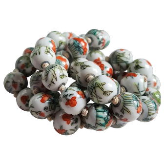 Vintage hand painted ceramic porcelain china beads lovely colors orange blue
