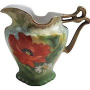 Beyer and Bock Prussia Creamer Poppies Daisy Hand Painted