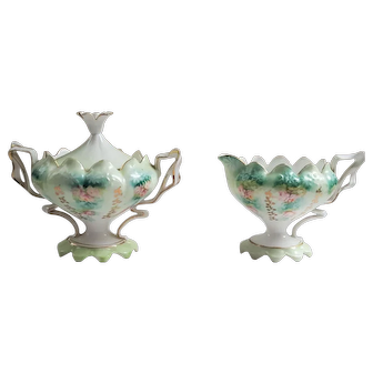 Antique Prussia footed Sugar and Creamer set lovely floral roses