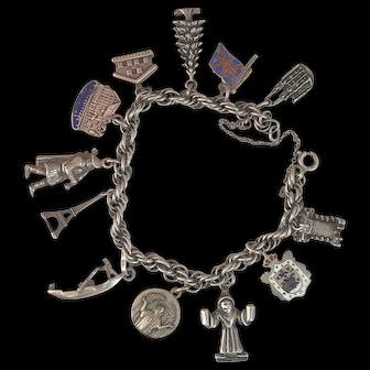 Vintage Double Link Twist Sterling Silver Souvenir Bracelet with 12 Charms