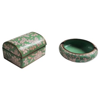 Vintage Cloisonne China Ashtray and Cigarette box holder Smoking Set Teal Aqua Green with white floral