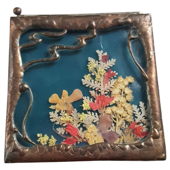Exceptional Vintage 1939 Art Nouveau trinket box casket Copper Stained Glass Dried pressed flowers