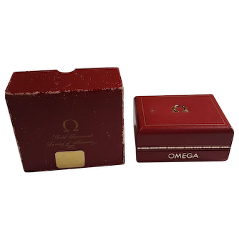 Vintage Red Leather Omega Watch Box Case Original outer BOX ONLY