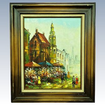 French Impressionist Oil Painting by Rene Caron Ca. 1950