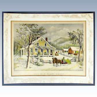 """1Currier & Ives hand colored lithograph """"The Old Farm House."""" 1872"""