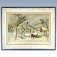 """Currier & Ives hand colored lithograph """"The Old Farm House."""" 1872"""