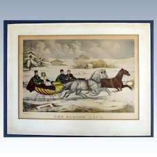 Currier & Ives hand colored lithograph titled The Sleigh Race.  1859.