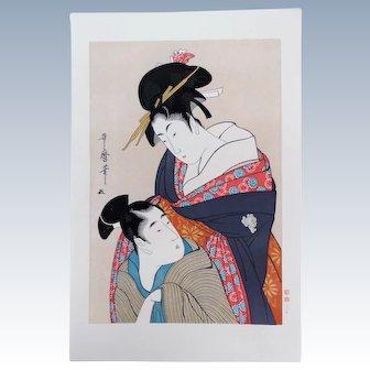 Japanese Woodblock Print Two Geishas