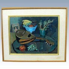 """Nicolai Cikovsky, """"Still Life with Mandolin"""" Oil on Canvas"""
