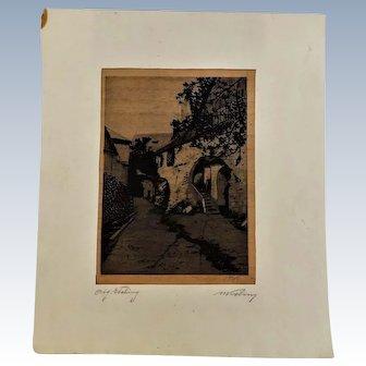 Vintage Lithograph European Street Scene