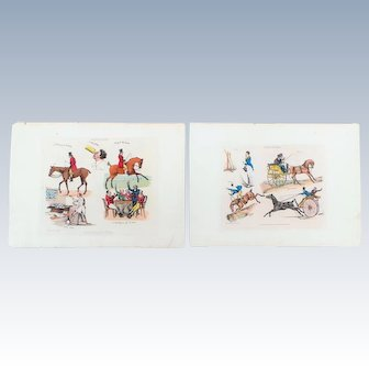 2 Hand Colored Engravings by Henry Aiken