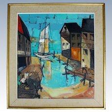 "Nicholas Takis,  ""Dock Scene"" Oil on Canvas"