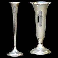 Two Elegant Vintage Sterling Silver Vases