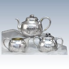 Rare Japanese Silver 3-Piece Tea Set, Meiji Period, Late 19th Century