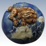 Japanese 19th C. Manju Porcelain Netsuke Featuring Foo Dog