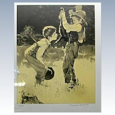 """Signed Norman Rockwell """"TOM SAWYER"""" 8 Lithographs"""