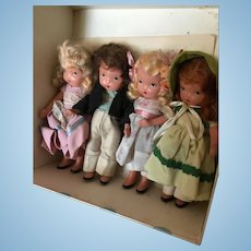 Lot of 4 painted bisque Nancy Ann storybook dolls