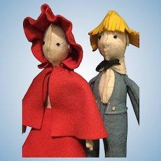 A pair of felt art dolls