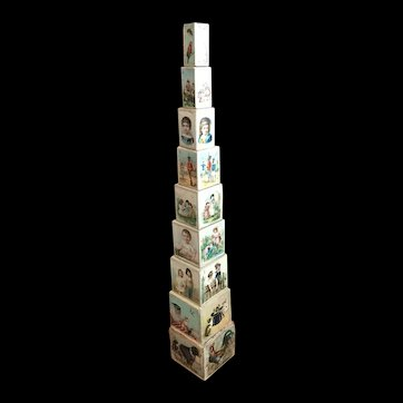 Antique set of lithograph paper on wood stacking blocks