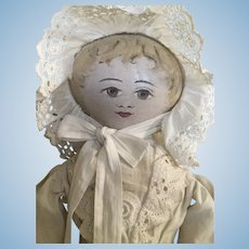 Early American painted cloth doll known as a Presbyterian rag