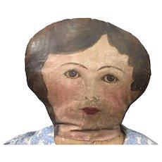 """Oil painted folk art """" make do"""" doll"""