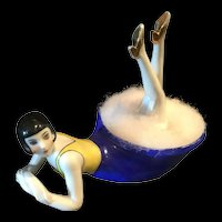 Art Deco powder dish half doll style