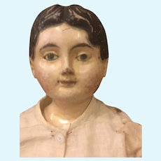 Antique Early German Carved Wood Head Doll