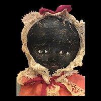 Antique American Folk Art Oil Painted Cloth Doll