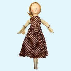 Georgian English wood doll of rare size