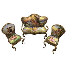 Early 20th Century Miniature Enamel Gilt Sitting Group