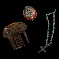 Antique Doll Hair Comb And Cross Necklace In Saint Anthony Box