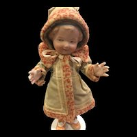 """Antique 8.5"""" German Heubach All- Bisque Character Doll."""