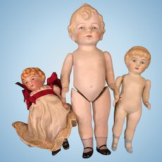 Lot of 3 German all bisque dolls