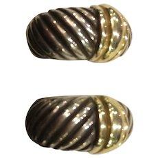 David Yurman Sterling Silver and 14K Gold Clip Earrings