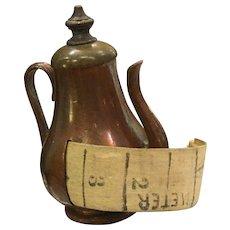 Antique Copper Coffee Pot Figural Tape Measure