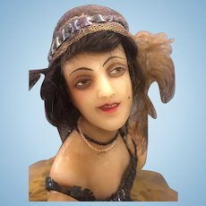 Antique poured wax lady fashion doll