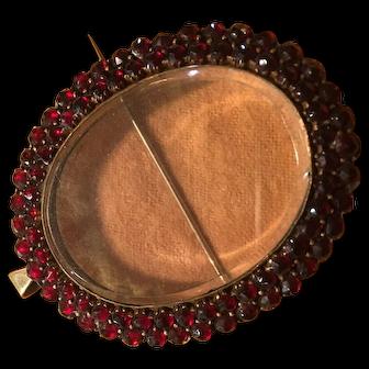 Victorian garnet pendant or pin frame