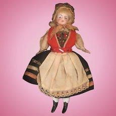 German bisque doll in original folk costume