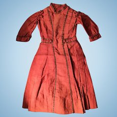 Antique doll dress in red