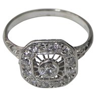Stunning Woman's Vintage 14K white gold Diamond Ring