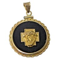 14K Gold and Onyx Religious Medallion Pendant of Jesus