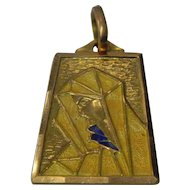 18 Karat Gold Enamel Religious Pendant of Mary