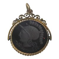 Victorian Gold Filled Carnelian Agate Intaglio Pendant or watch FOB with Roman Warrior