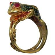 High Quality Enamel Frog 18K Gold Ring